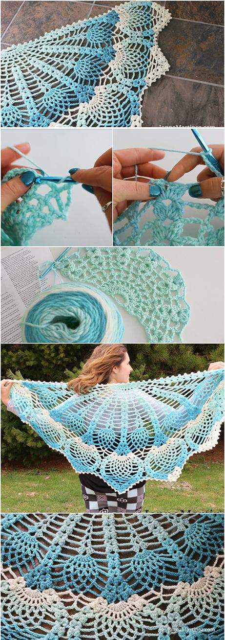 Easy Tutorial To Crochet Pineapple Peacock Shawl